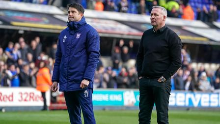 Town manager Paul Lambert and his assistant Stuart Taylor in reflective mood as they stand in front of the North Stand...
