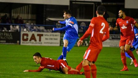 Leiston's last league outing, before the current 'pause,' featured a win over Kings Langley. Here Marcus Wilkinson fires...