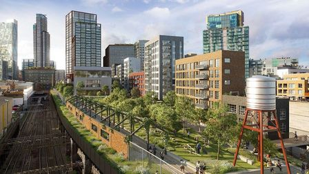 The development would include 500 homes, offices and a park. Picture: Hammerson and Ballymore