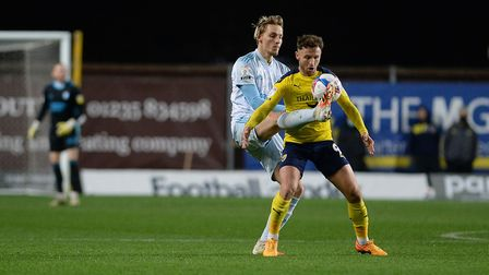 Luke Woolfenden in action during Ipswich Town's goalless draw at Oxford United last Tuesday. Photo: Pagepix Ltd