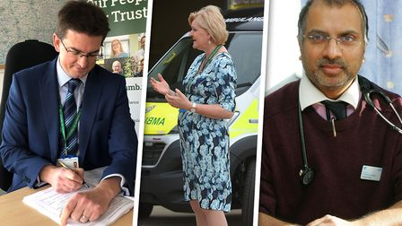 Ambulance service chief executive Dorothy Hosein, centre, has been off sick since September. Dr Tom Davis (left) is acting...
