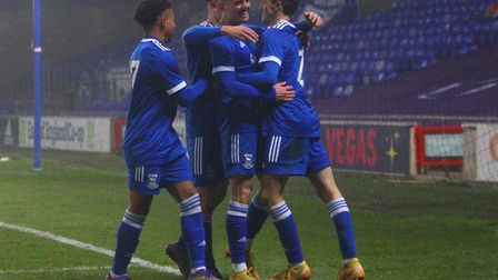 Ipswich Town U18s are through to the next round of the FA Youth Cup after beating Fulham 3-2 at Portman Road Picture: Ross...