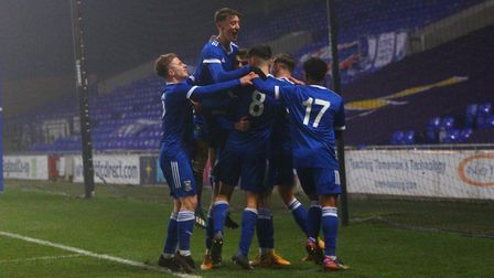 Ipswich Town U18s players celebrate as they beat Fulham 3-2 in the FA Youth Cup Picture: Ross Halls