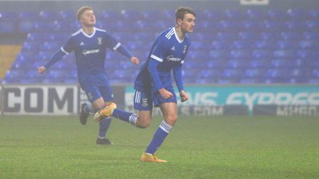 Liam Gibbs celebrates his penalty in the Blues 3-2 win over Fulham Picture: Ross Halls