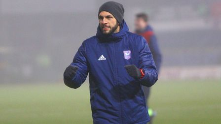 Ipswich Town U18s manager Adem Atay celebrrates after his young Blues beat Premier League Fulham 3-2 in added time in the...
