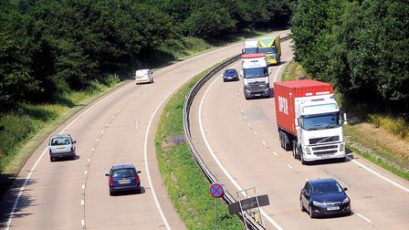 The break down occured on the A14 West between near Haughley. Picture: GREGG BROWN