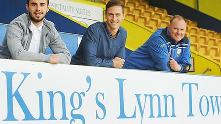 King's Lynn Town new signings (L) Jackson Ramm and David Bridges with manager Gary Setchell. Picture