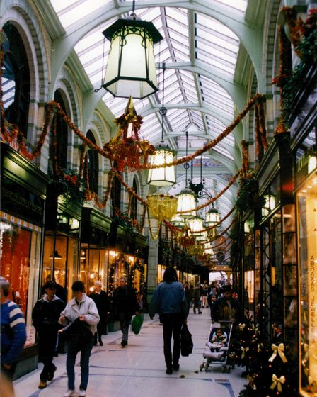 Christmas shopping at the Royal Arcade in Norwich, 24th November 1994. Picture: Archant Library