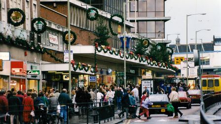Christmas shoppers crowd St Stephens Street in Norwich, 18th December 1993. Picture: Archant Library