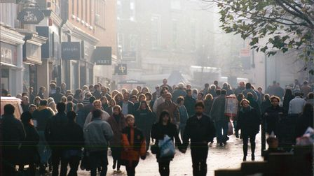 Christmas shoppers crowd Gentleman's Walk in Norwich, 10th December 1995. Picture: Archant Library