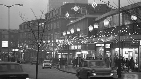 Christmas lights on St Stephens in Norwich, 11th December 1968. Photo: Archant Library