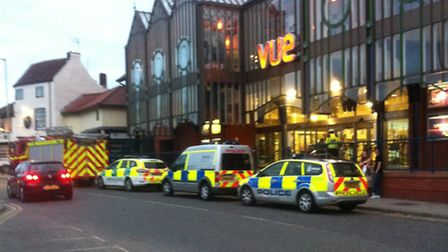 Emergency services outside Norwich's Castle Mall. The shopping centre was evacuated.