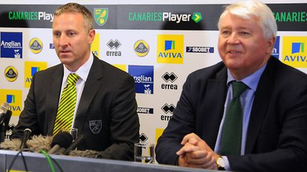 The new Norwich City manager Neil Adams with and chairman Alan Bowkett (right). Picture: Denise Brad