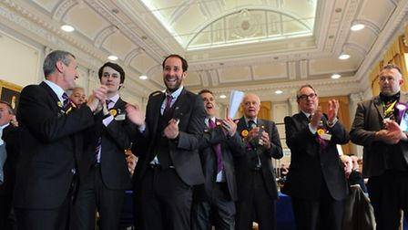 Great Yarmouth Borough Council Elections 2014.Votes being counted in the Town Hall.UKIP celebrating.