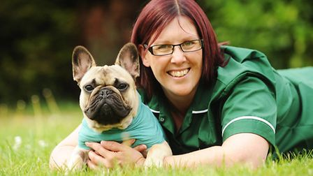 French bull dog Alfie with his owner Hannah Myburgh. Picture: Ian Burt