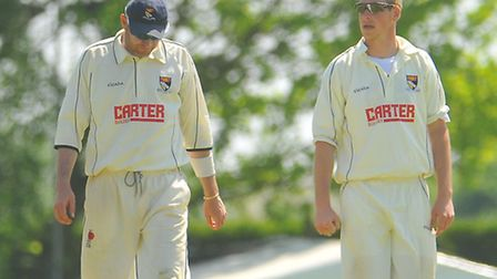 Harry Bush, right and Chris Brown during last weekend's home win against Suffolk. Picture: Steve Ada