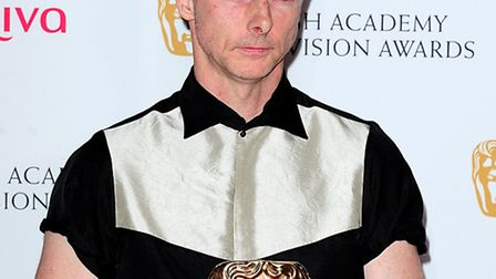 Sean Harris with the Leading Actor Award for Southcliffe, at the Arqiva British Academy Television A