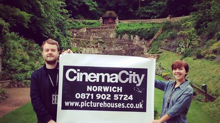 Staff from Cinema City getting ready for August's outdoor screenings at The Plantation Gardens; Phot