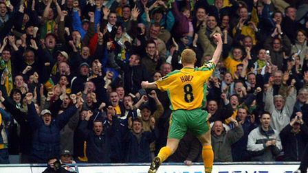 Gary Holt scores during his playing days at Carrow Road - now he will be first-team coach under Neil