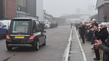 The funeral cortège, which included a lap of Lowestoft fish market,ahead of the service for Michael Cole