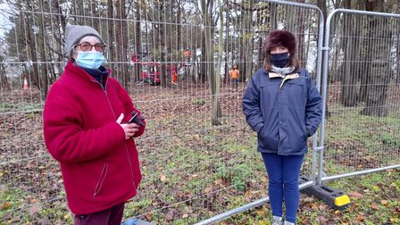 Protestors at the scene in Coronation Wood, close to EDF's Sizewell nuclear power plant
