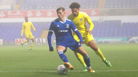 Harley Curtis in action during the Ipswich Town U18s 3-2 win over Fulham in the FA Youth Cup at Port