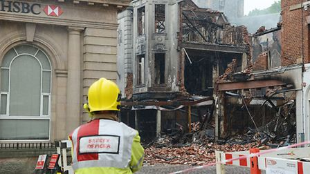 A scene from the aftermath of the fire in Fakenham town centre on May 25. Picture: Ian Burt