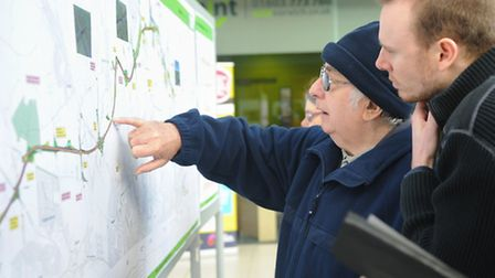 Members of the public study plans for the NDR. Picture: Denise Bradley.