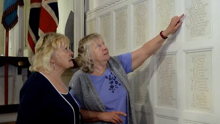 Jennifer Tucker and Gill Battrick, who are members of the WW1 commemoration committee, led by Arthur