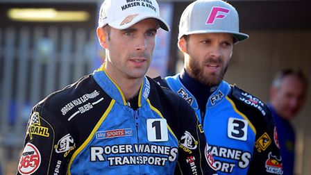 Niels-Kristian Iversen (left) and Rory Schlein (right) secured victory for King's Lynn Stars in the