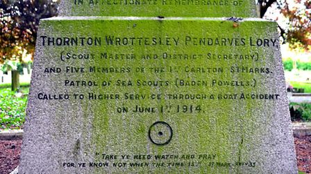 REMEMBER THEM: The memorial in Carlton Colville to the six sea scouts who died, prior to being clean
