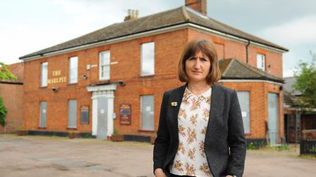 City Councillor Lucy Galvin at the closed Marlpit pub, which residents and councillors want to get l