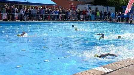Swimmers competing in the 2013 Beccles Triathlon.