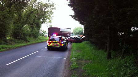 Scene of the crash on the Holt Road at Hevingham