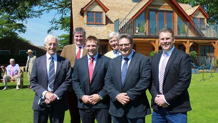 Celebrating the opening of the new sports pavilion at Gresham's School. From left: Acting headmaster