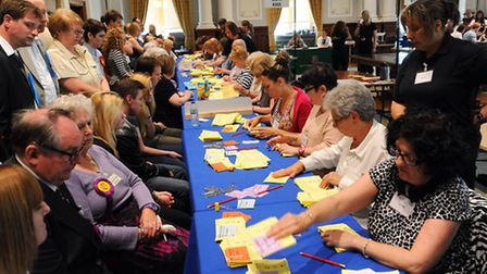 Great Yarmouth Borough Council Elections 2014. Votes being counted in the Town Hall. Picture: James