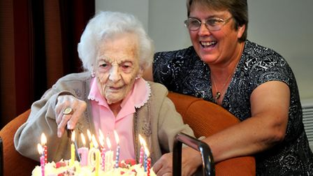 Maisie Charles celebrating her 104th birthday at Robert Smith Court, Stalham. Pictured with Dawn Pos