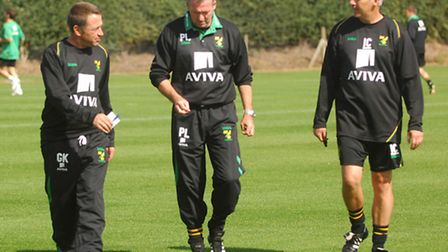 Gary Karsa, Paul Lambert and Ian Calverhouse pictured at Norwich City's Colney Training Centre in 20