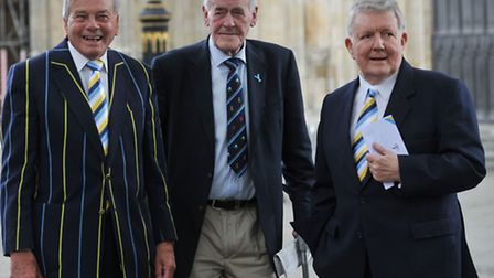 Phil Sharpe, right, with former cricket umpire and Yorkshire player Dickie Bird (left) and former Yo