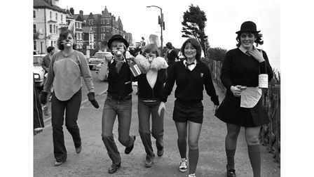 Students joining in Rag Week fun in Colchester inFebruary 1980