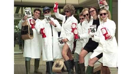 Students from Writtle Agricultural College in Chelmsford in Rag Week in October 1993