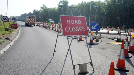 The A11 closed at Fiveways Roundabout (Barton Mills) after an accident.