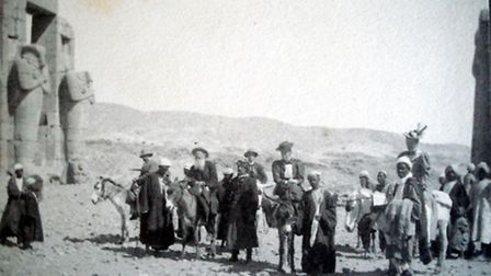 the Colman family - plus entourage - in Egypt, viewing the sights on donkeys, as would have been usu