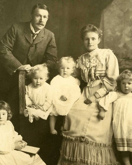 Florence and Edward Boardman with their young children at How Hill.