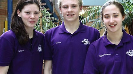 Pictured, from left, are: Natalie Coogans, Nathan Wells, and Abigail Whiting.