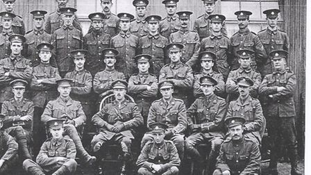 B Company of the 8th East Surreys. Charlie Wells is stood middle row 4th from the right and Billie N