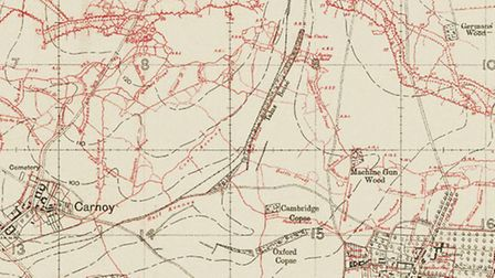 Trench map of the Battle of the Somme, where the 8/East Surreys were put in the front-line north of