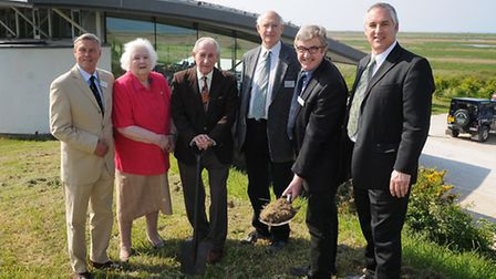 Norfolk Wildlife Trust & Cley Visitors Centre turf cutting for their new Simon Aspinall wildlife edu