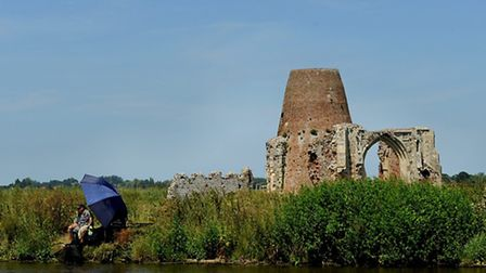 St Benets abbey from the River Bure, similar view to John Sell Cotman's painting of 1831Photo: Bill