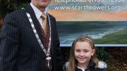 Star Throwers. Pictured: Colin Foulger, Wymondham Town Mayor, and Aimee Kitchen, who donated her poc